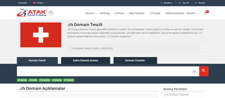 .ch Domain Tescili