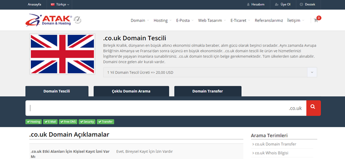 .co.uk Domain Tescili